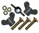 Wing screw with plastic head for